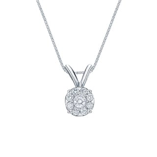 Auriya 14k White Gold 1/4ct TDW Diamond Cluster Necklace (H-I, SI1-SI2)