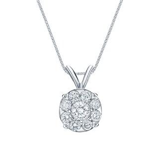 Auriya 1ctw Round Halo Diamond Necklace 14k White Gold