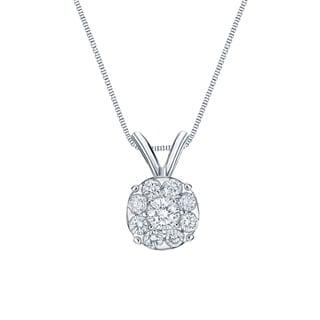 Auriya 14k White Gold 1 1/2ct TDW Diamond Cluster Necklace (H-I, SI1-SI2)