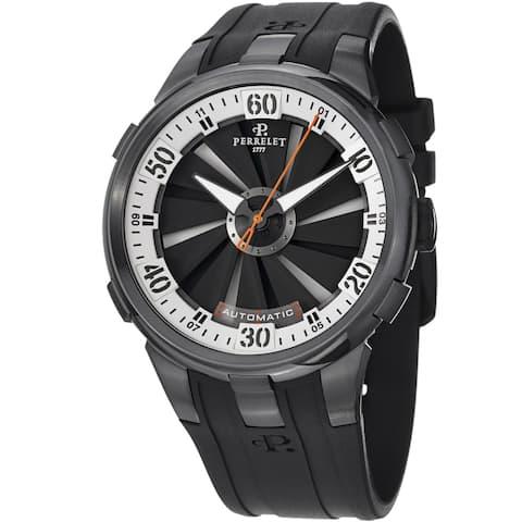 Perrelet Men's A1051/4 'Turbine XL' Black/White Dial Black Rubber Strap Watch