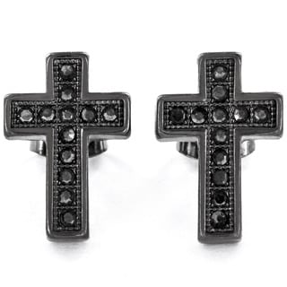 West Coast Jewelry Black Hematite Micro Pave Crystal Cross Stud Post Earrings