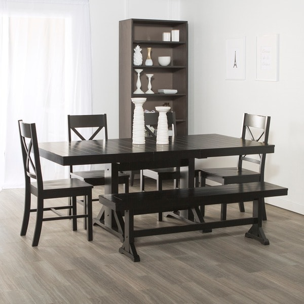 Captivating Countryside Chic 6 Piece Antique Black Wood Dining Set