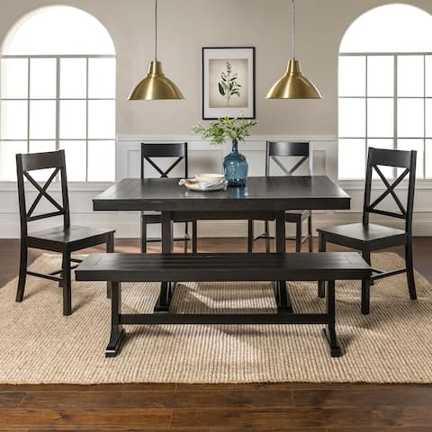 6-Piece Farmhouse Dining Set - Antique Black