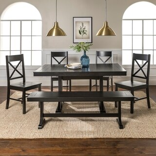 Countryside Chic 6-piece Antique Black Wood Dining Set