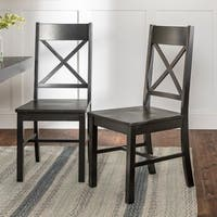Solid Wood Black Dining Chairs (Set of 2)