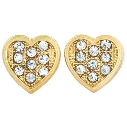 Micro Pave Crystal Heart Stud Post Earrings