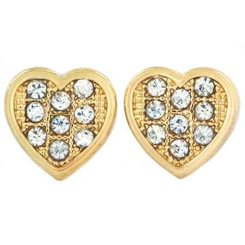 Micro Pave Crystal Gold Tone Heart Stud Earrings