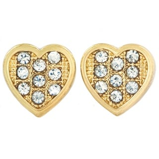 West Coast Jewelry Hematite or Goldtone Micro Pave Crystal Heart Stud Post Earrings