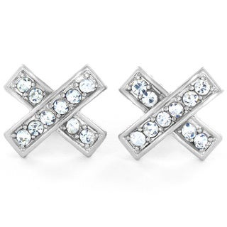 West Coast Jewelry Silvertone Micro Pave Crystal Criss Cross X Post Earrings