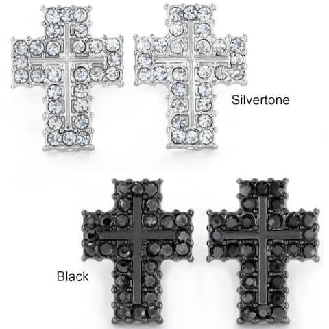Micro Pave Crystal Cross Stud Post Earrings