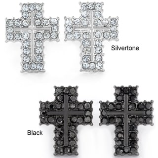 West Coast Jewelry Silvertone or Black Micro Pave Crystal Cross Stud Post Earrings