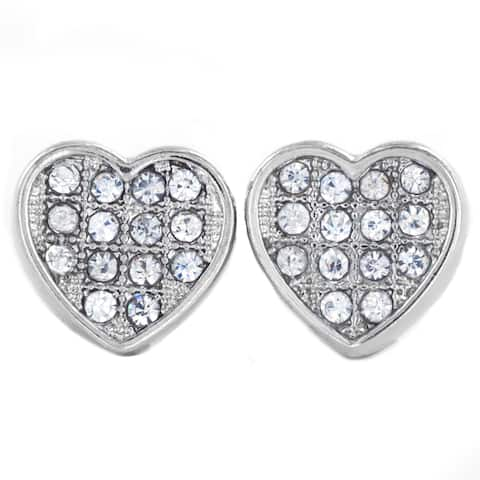Silver Tone Micro Pave Crystal Heart Stud Post Earrings