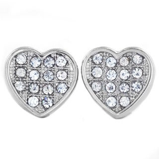 West Coast Jewelry Silvertone or Black Micro Pave Crystal Heart Stud Post Earrings