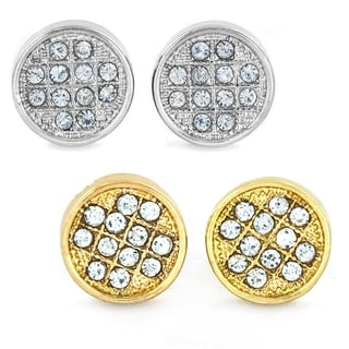 West Coast Jewelry Silvertone, Goldtone, or Black Micro Pave Crystal Circle Stud Post Earrings