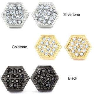 West Coast Jewelry Silvertone, Goldtone, or Black Micro Pave Crystal Hexagon Stud Earrings
