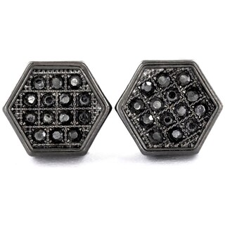 Micro Pave Crystal Hexagon Stud Earrings