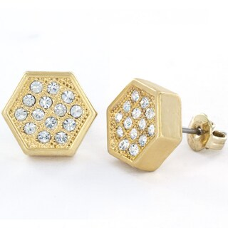 West Coast Jewelry Silvertone, Goldtone, or Black Micro Pave Crystal Hexagon Stud Earrings (3 options available)