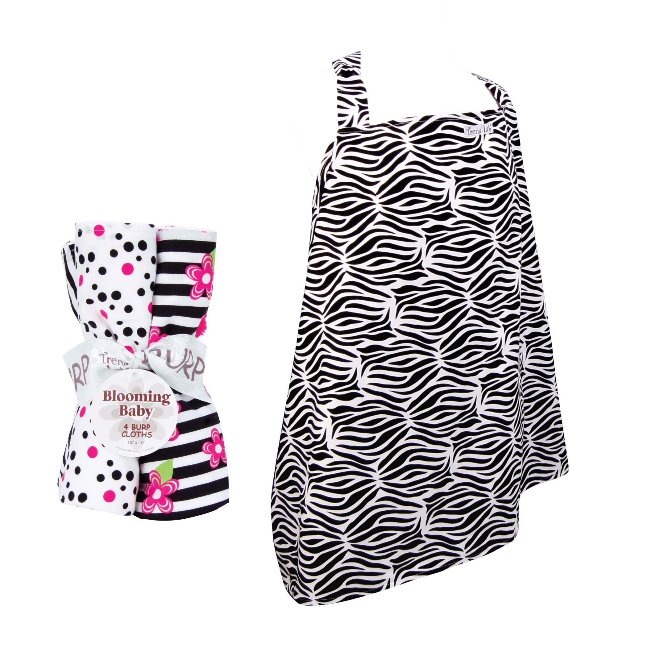 Trend Lab 5-piece Nursing Cover and Burp Cloth Set in Zeb...