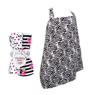 Trend Lab 5-piece Nursing Cover and Burp Cloth Set in Zebra