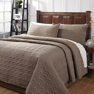 Zig Zag Taupe Textured 3-piece Cotton Quilt Set