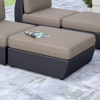 CorLiving Seattle Textured Black Weave Patio Ottoman