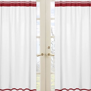 Sweet Jojo Designs White and Red 84-inch Window Treatment Curtain Panel Pair for White and Red Hotel Collection