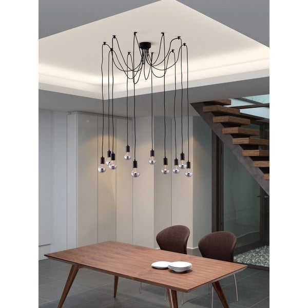 Fog 10-light Black Modern Ceiling Lamp
