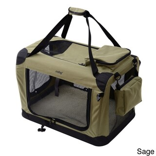 Large Portable Soft Pet Crate with Carrier Strap (Option: Green)