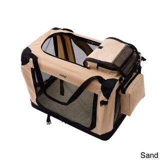 Large Portable Soft Pet Crate with Carrier Strap (Option: Tan)