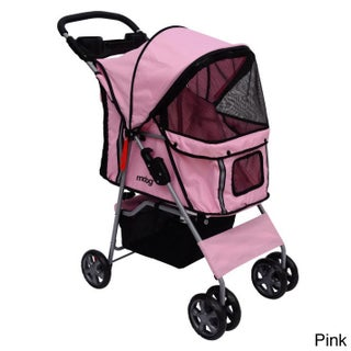 4-wheel Front and Rear Entry Pet Stroller (Option: Pink)