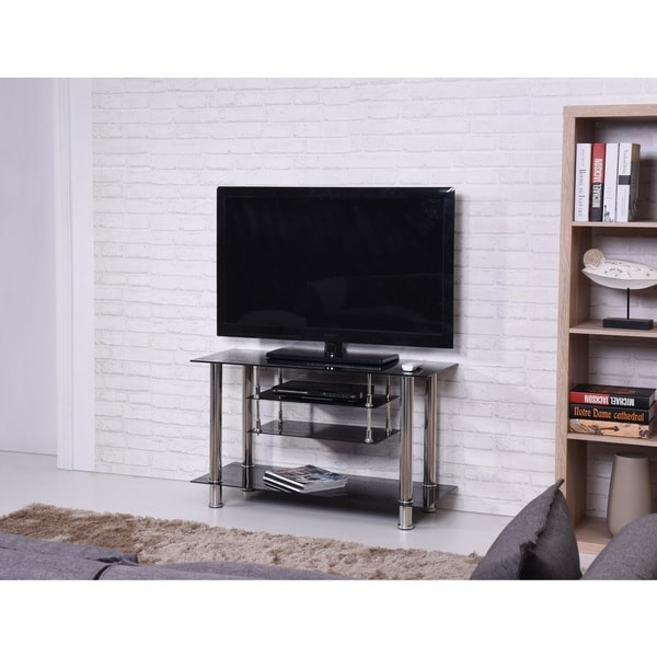 Shop Black Chrome Tiered Tempered Glass Tv Stand Free Shipping