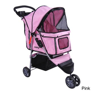 3-wheel Front and Rear Entry Pet Stroller (Option: Pink)