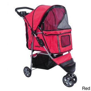 3-wheel Front and Rear Entry Pet Stroller (Red)