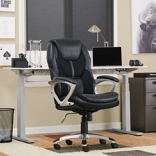 Serta Black Puresoft Faux Leather and Mesh Executive Office Chair