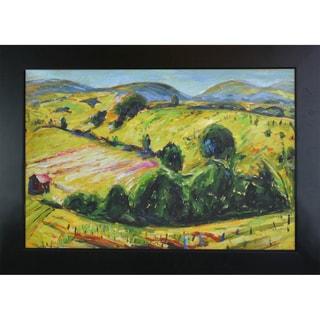 Alfred Henry Maurer Fauve Landscape with Rolling Hills Hand Painted Framed Canvas Art
