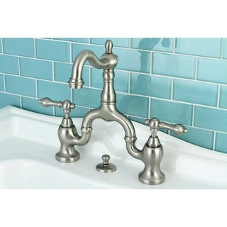 Amazing Vintage High Spout Satin Nickel Bridge Bathroom Faucet   Free Shipping  Today   Overstock.com   16241327