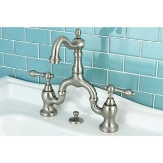 Vintage High Spout Satin Nickel Bridge Bathroom Faucet