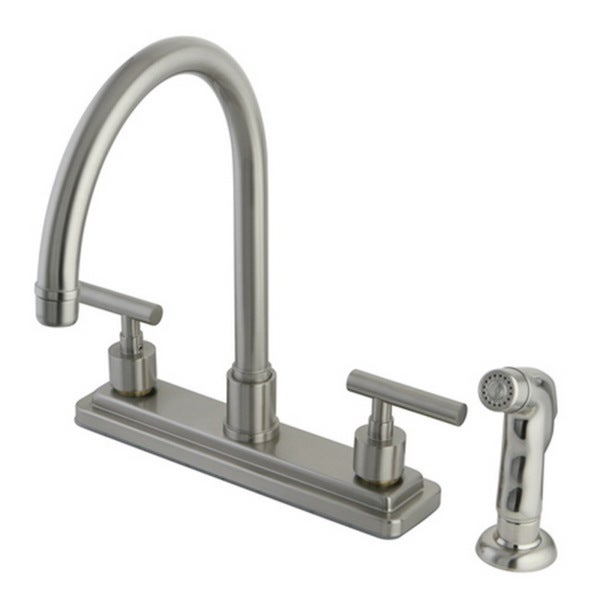 Brushed Nickel 8-inch Kitchen Faucet with Side Sprayer. Opens flyout.