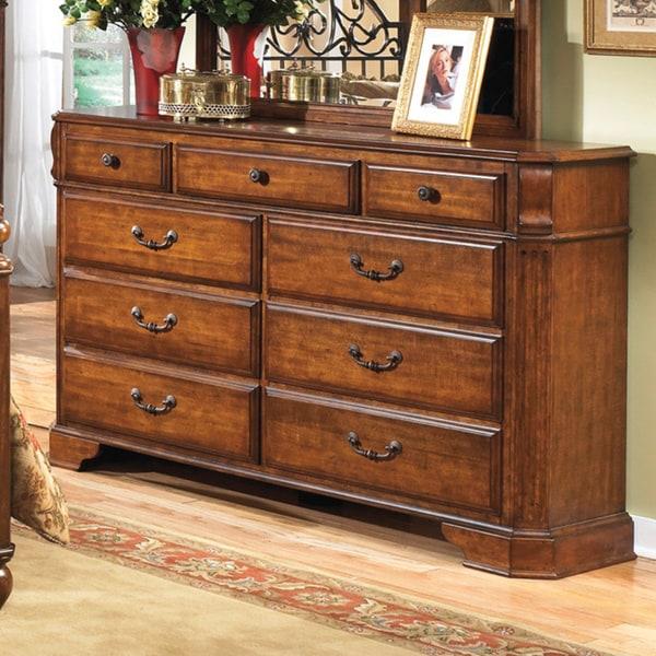 shop signature design by ashley wyatt cherry wood 9 drawer dresser on sale free shipping. Black Bedroom Furniture Sets. Home Design Ideas
