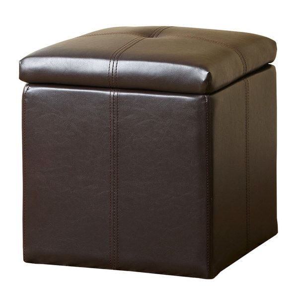 shop abbyson living dark brown parker storage bonded leather tufted ottoman free shipping. Black Bedroom Furniture Sets. Home Design Ideas