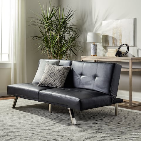 Abbyson Aspen Black Bonded Leather Foldable Futon Sleeper Sofa