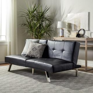 Abbyson Aspen Black Bonded Leather Foldable Futon Sleeper Sofa