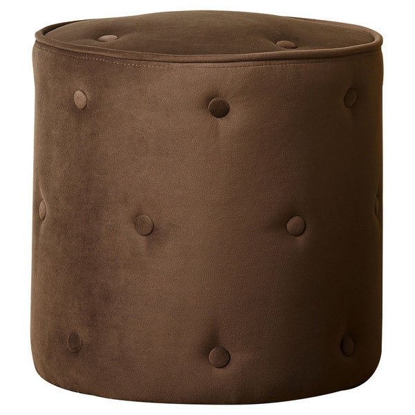 ABBYSON LIVING Dark Brown Portman Tufted Velvet Ottoman