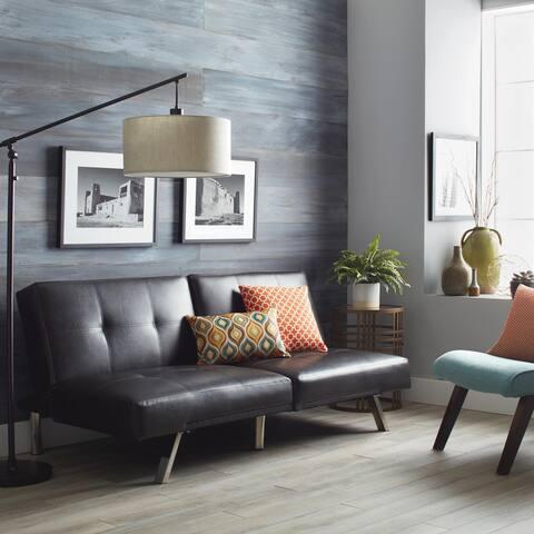 Abbyson Aspen Brown Bonded Leather Foldable Futon Sleeper Sofa