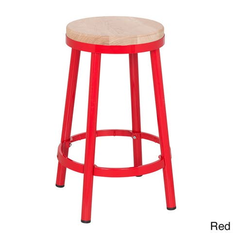 Modern Round Backless Metal and Ash Wood 26-inch Bar Stool