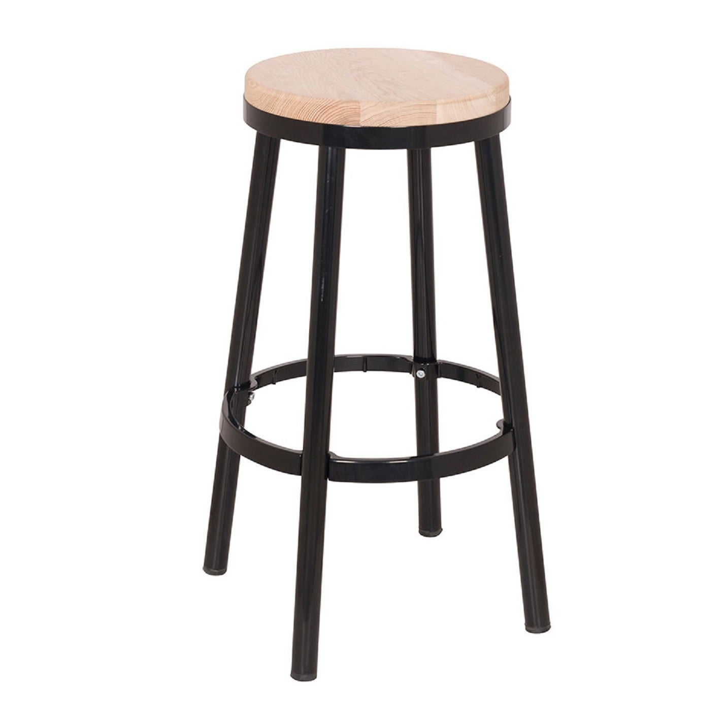 Osp Home Furnishings Modern Round Backless Metal And Ash Wood 26 Inch Bar Stool