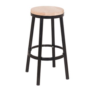 Link to Modern Round Backless Metal and Ash Wood 26-inch Bar Stool Similar Items in Dining Room & Bar Furniture