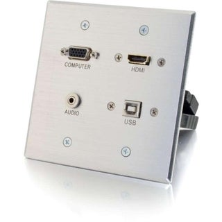 C2G HDMI, VGA, 3.5mm and USB Pass Through Double Gang Wall Plate - Al