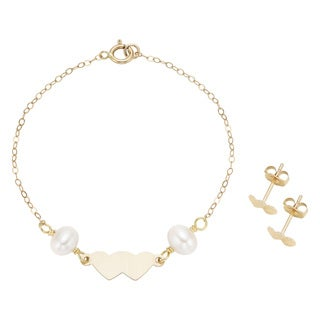 Pearlyta 14k Hammered Yellow Gold Children's Freshwater Pearl Heart Earring and Bracelet Set (4-5 mm)
