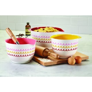 Cake Boss Countertop Accessories 3-Piece Melamine Mixing Bowl Set ('Icing' Pattern)